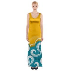 Summer Sea Water Wave Tree Yellow Blue Maxi Thigh Split Dress