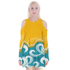 Summer Sea Water Wave Tree Yellow Blue Velvet Long Sleeve Shoulder Cutout Dress by AnjaniArt