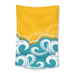 Summer Sea Water Wave Tree Yellow Blue Small Tapestry