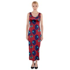 Texture Bright Circles Fitted Maxi Dress by AnjaniArt