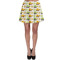 Turtle Green Yellow Flower Animals Skater Skirt