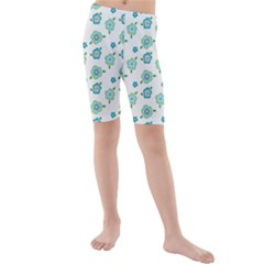 Valentine Chevron Papers Flower Floral Green Flowering Kids  Mid Length Swim Shorts by AnjaniArt