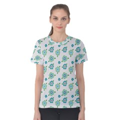 Valentine Chevron Papers Flower Floral Green Flowering Women s Cotton Tee