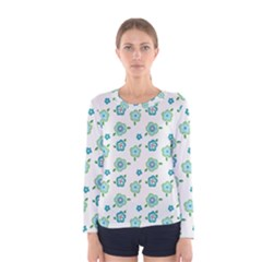 Valentine Chevron Papers Flower Floral Green Flowering Women s Long Sleeve Tee