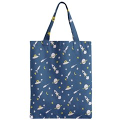 Twiddy Space Saturnus Plane Star Month Rocket Blue Sky Zipper Classic Tote Bag by AnjaniArt