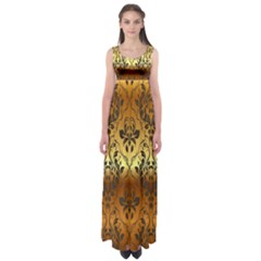 Vintage Gold Gradient Golden Resolution Empire Waist Maxi Dress by AnjaniArt