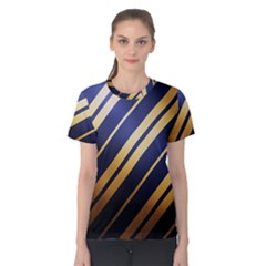 Wave Blue Gold Women s Cotton Tee