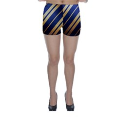 Wave Blue Gold Skinny Shorts by AnjaniArt