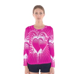 Valentine Floral Heart Pink Women s Long Sleeve Tee