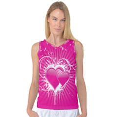 Valentine Floral Heart Pink Women s Basketball Tank Top