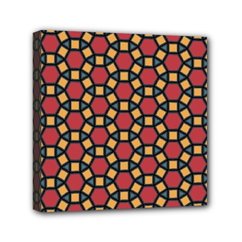 Tiling Flower Star Red Mini Canvas 6  X 6  by AnjaniArt