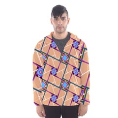 Wallpaper Overlaid Brown Line Purple Blue Box Hooded Wind Breaker (men) by AnjaniArt