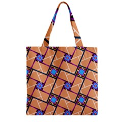 Wallpaper Overlaid Brown Line Purple Blue Box Zipper Grocery Tote Bag by AnjaniArt