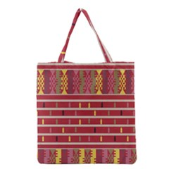 Woven Fabric Pink Grocery Tote Bag