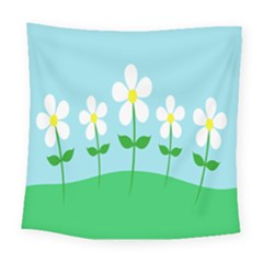 Flower Floral Blue Sky Green Leaf Square Tapestry (large)