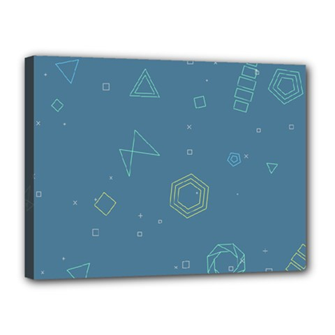 Geometric Debris In Space Blue Canvas 16  X 12  by AnjaniArt