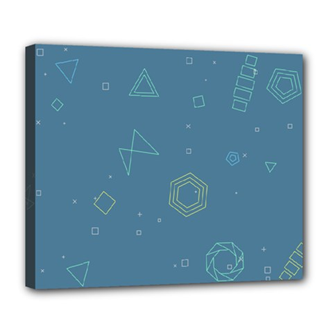 Geometric Debris In Space Blue Deluxe Canvas 24  X 20   by AnjaniArt