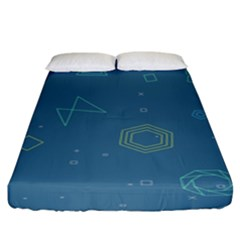 Geometric Debris In Space Blue Fitted Sheet (king Size) by AnjaniArt
