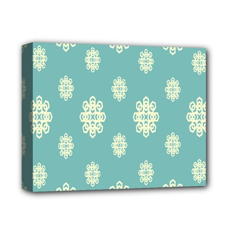 Geometric Snowflake Retro Snow Blue Deluxe Canvas 14  X 11  by AnjaniArt