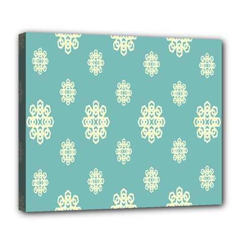 Geometric Snowflake Retro Snow Blue Deluxe Canvas 24  X 20   by AnjaniArt