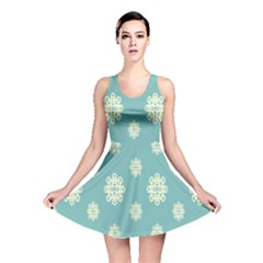 Geometric Snowflake Retro Snow Blue Reversible Skater Dress