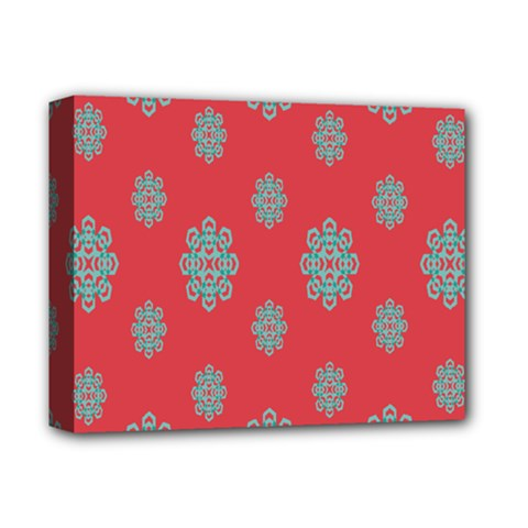 Geometric Snowflake Retro Red Deluxe Canvas 14  X 11  by AnjaniArt