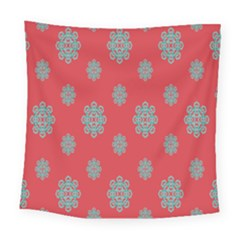 Geometric Snowflake Retro Red Square Tapestry (large) by AnjaniArt