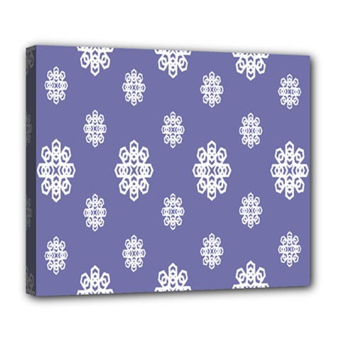 Geometric Snowflake Retro Purple Deluxe Canvas 24  X 20   by AnjaniArt