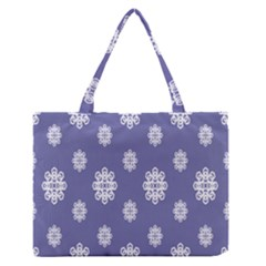 Geometric Snowflake Retro Purple Medium Zipper Tote Bag