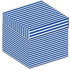 Horizontal Stripes Dark Blue Storage Stool 12   by AnjaniArt