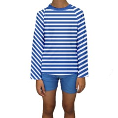 Horizontal Stripes Dark Blue Kids  Long Sleeve Swimwear