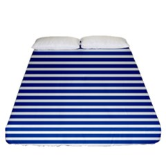 Horizontal Stripes Dark Blue Fitted Sheet (california King Size)