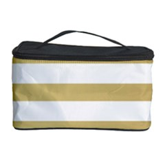 Horizontal Stripes Dark Brown Grey Cosmetic Storage Case by AnjaniArt