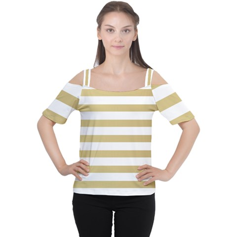 Horizontal Stripes Dark Brown Grey Women s Cutout Shoulder Tee by AnjaniArt