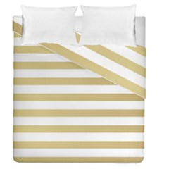 Horizontal Stripes Dark Brown Grey Duvet Cover Double Side (queen Size)