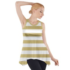 Horizontal Stripes Dark Brown Grey Side Drop Tank Tunic