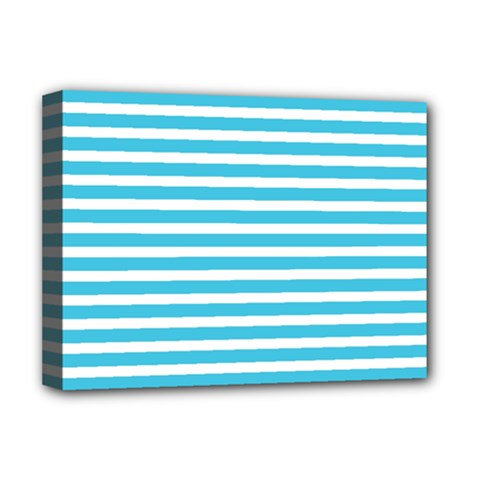 Horizontal Stripes Blue Deluxe Canvas 16  X 12   by AnjaniArt