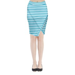 Horizontal Stripes Blue Midi Wrap Pencil Skirt