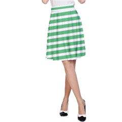 Horizontal Stripes Green A-line Skirt by AnjaniArt