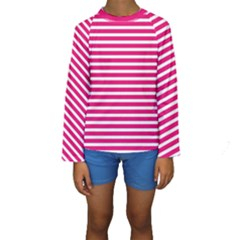 Horizontal Stripes Hot Pink Kids  Long Sleeve Swimwear