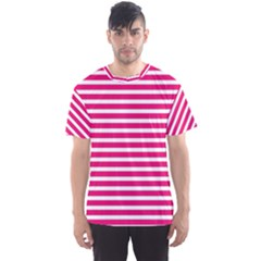 Horizontal Stripes Hot Pink Men s Sport Mesh Tee