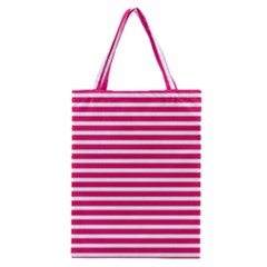 Horizontal Stripes Hot Pink Classic Tote Bag
