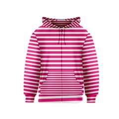 Horizontal Stripes Hot Pink Kids  Zipper Hoodie by AnjaniArt