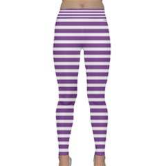 Horizontal Stripes Purple Classic Yoga Leggings