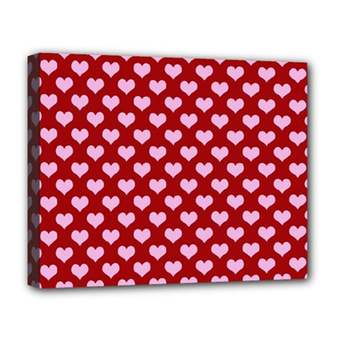 Hearts Love Valentine Pink Day Happy Wallpaper Deluxe Canvas 20  X 16   by AnjaniArt