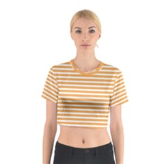 Horizontal Stripes Orange Cotton Crop Top