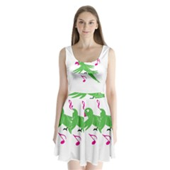 Parrot Bird Green Split Back Mini Dress  by AnjaniArt
