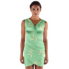 Pastel Leaves Wrap Front Bodycon Dress