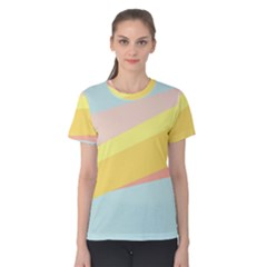Pink Green Yellow Line Flag Women s Cotton Tee
