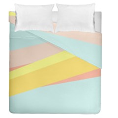 Pink Green Yellow Line Flag Duvet Cover Double Side (queen Size) by AnjaniArt